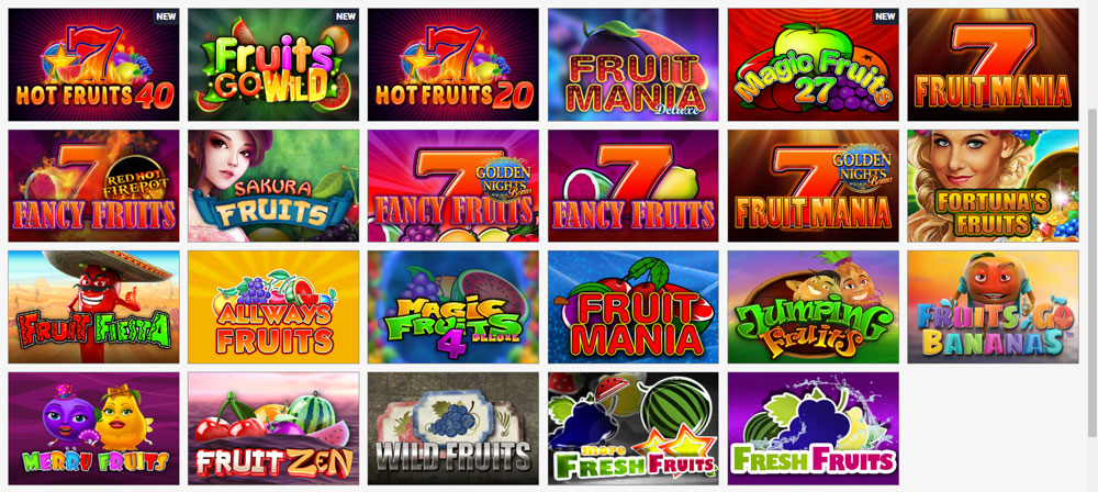 Games at Fruits4Real Casino