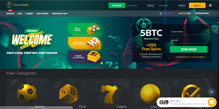 FortuneJack Casino Welcome BOnus