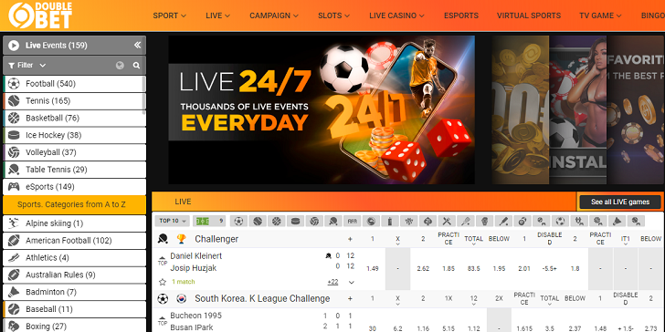 DoubleBet Sportsbook Main Page