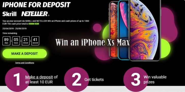 Win an iPhone Xs Max 1xBET Casino