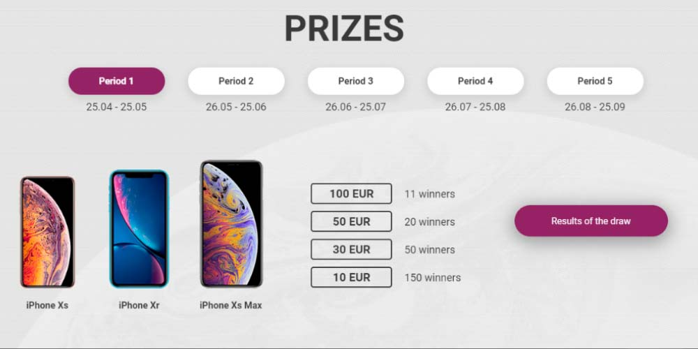 Win an iPhone Xs Max 1xBET Casino Prizes