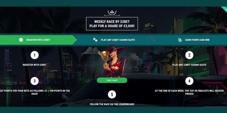 22bet casino slot tournament