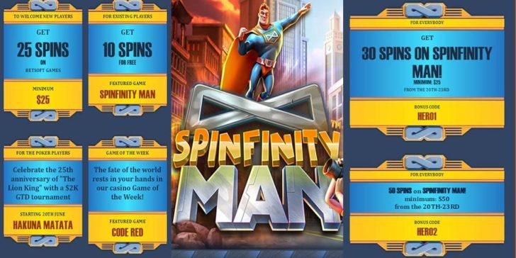 Use Our Bonus Code for Free Spins on Spinfinity Man at Juicy Stakes