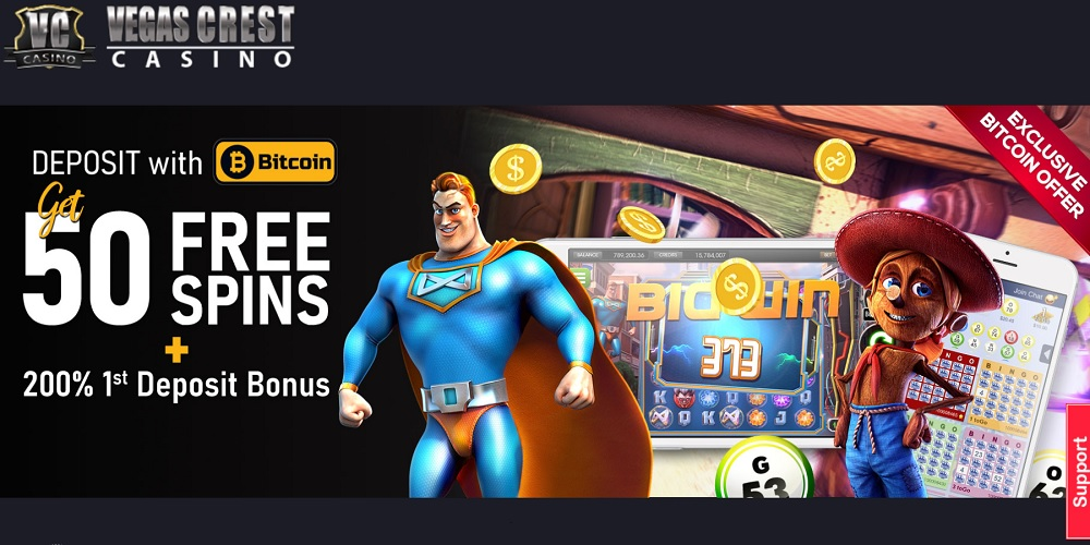 Double your first Bitcoin Deposit and claim 50 free spins with this Vegas Crest Casino Bitcoin Bonus, Bitcoin First Deposit Bonus, Bitcoin Casino, Bitcoin Gambling, Bitcoin Bonus, Cryptocurrency gambling bonus