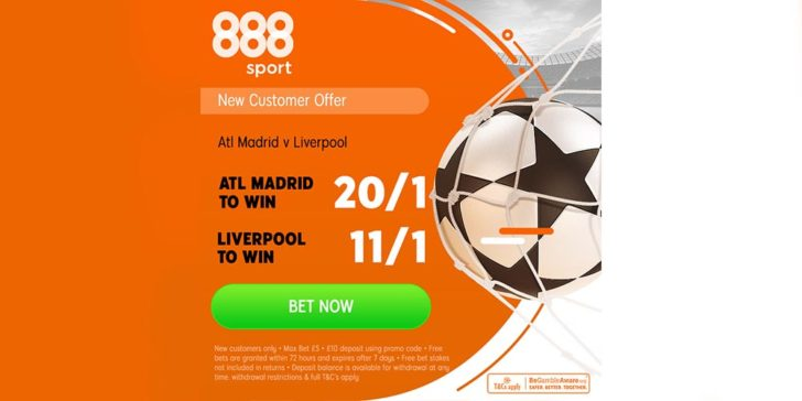 Find the Atletico vs Liverpool best odds at 888sport's Welcome Bonus Offer, Atletico vs Liverpool betting offer