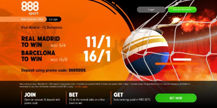 Real v Barca Betting Deal from 888sport