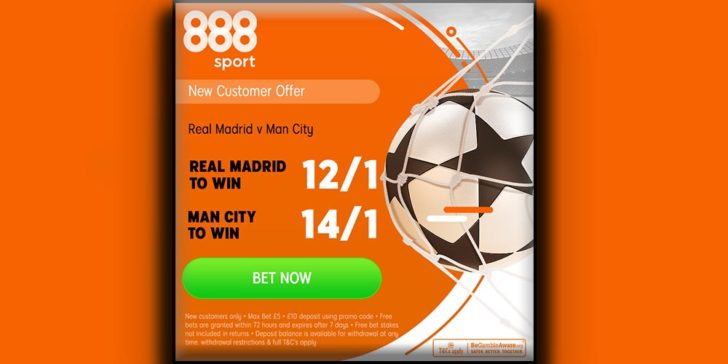 888sport offers enhanced odds on the upcoming Champions League derby, claim thie Real v City bteting offer!