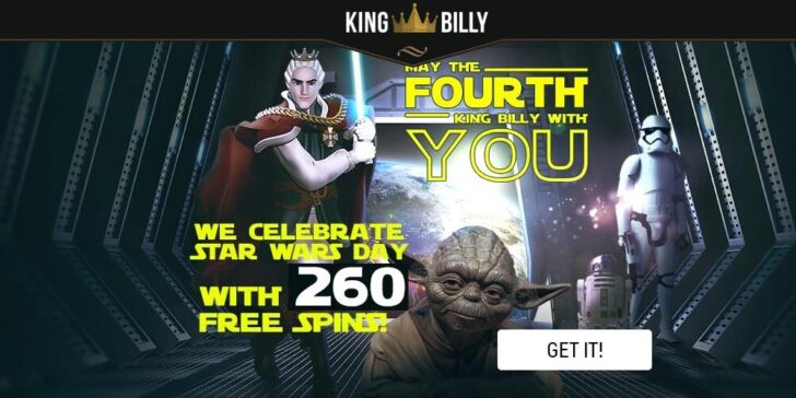 Star Wars Casino Promo on 4th of May at King Billy Casino, win Star Wars day free spins
