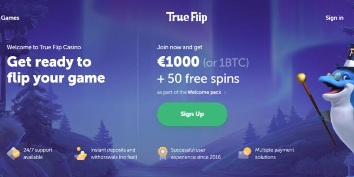 The latest review about True Flip Casino Welcome Bonus offer