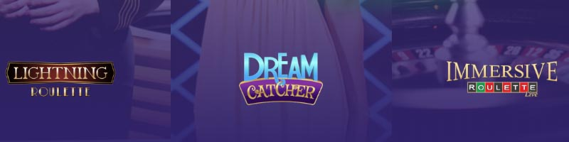 Live Casino slots at True Flip Casino - Live Dream Catcher, Live Immersive Roulette and Live Lightning Roulette