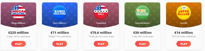 The biggest available lottery jackpots today at Megalotto, Megalotto largest jackpots this week