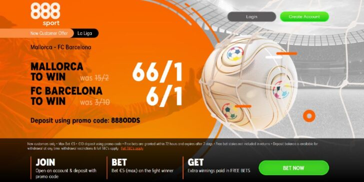 Mallorca vs Barca betting promo, take advantage of the best betting odds on Barcelona to win at 888sport