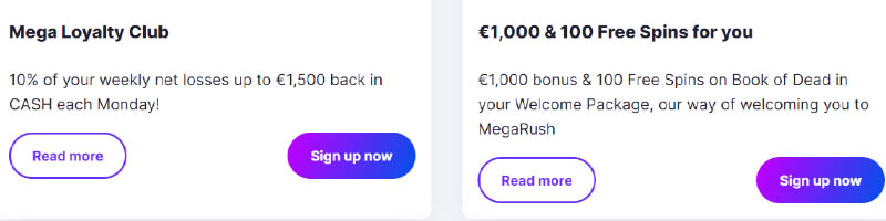 about MegaRush Casino promotions and deals