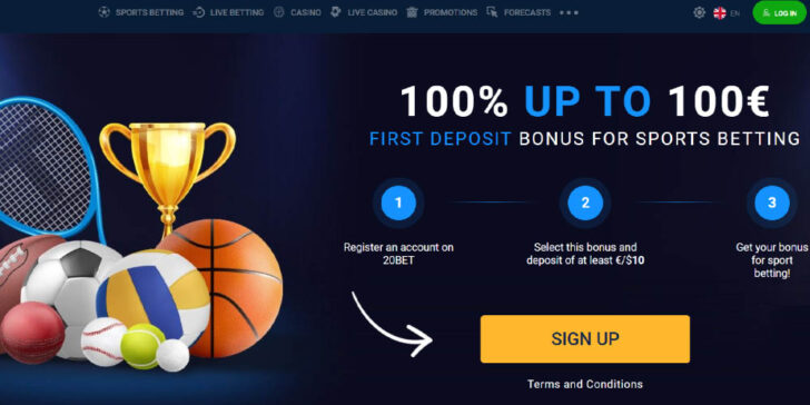 20Bet Sportsbook Welcome Bonus